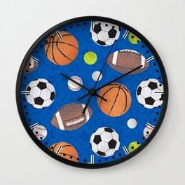 Sports Balls Pattern - Blue  Wall Clock