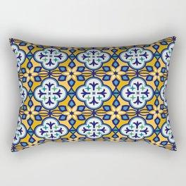 Yellow and Blue Moroccan Tile Rectangular Pillow