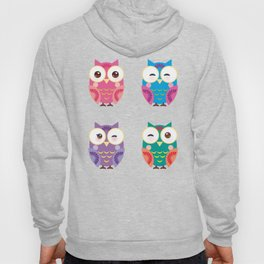 pattern - bright colorful owls on white background Hoody