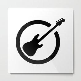 Bass Guitar Black Ink Stamp Metal Print