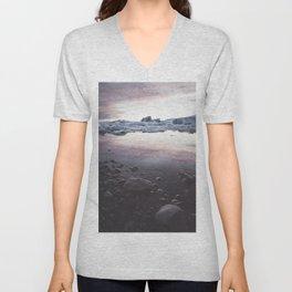 Jokulsarlon Lagoon - Sunset - Landscape and Nature Photography Unisex V-Neck