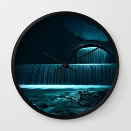 Moonlit Waterfall under Starry Skies Photographic Landscape Wall Clock