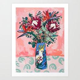 Cockatoo Vase on Painterly Pink Art Print