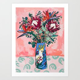 Cockatoo Vase on Painterly Pink Art Print