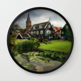 Canal View of Pretty Dutch Village, Marken Wall Clock