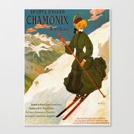 Vintage Chamonix Mont Blanc France Travel Canvas Print