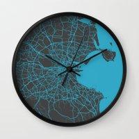 dublin Wall Clocks featuring Dublin Map by Map Map Maps