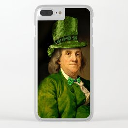 St Patrick's Day for Lucky Ben Franklin Clear iPhone Case