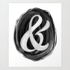 Thick Swirl Ampersand Black & White Art Print