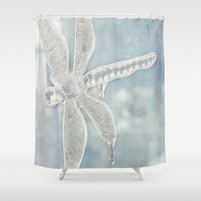 Iced Dragonfly Shower Curtain