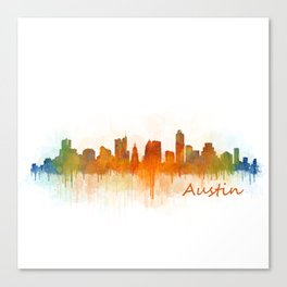 Austin Texas, City Skyline, watercolor  Cityscape Hq v3 Canvas Print
