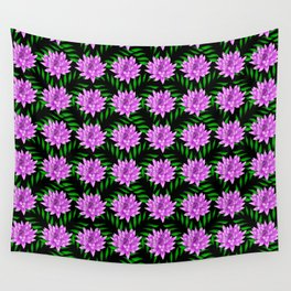 Pink pretty blooming lily flowers and green leaves black floral pattern design Wall Tapestry