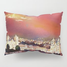 Fine art poured watercolor painting of colonial churches on the Plaza de Armas in Cusco Pillow Sham