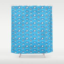 Cartoon Great White Sharks Shower Curtain
