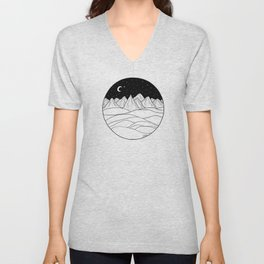 Mountains and the Moon Unisex V-Neck