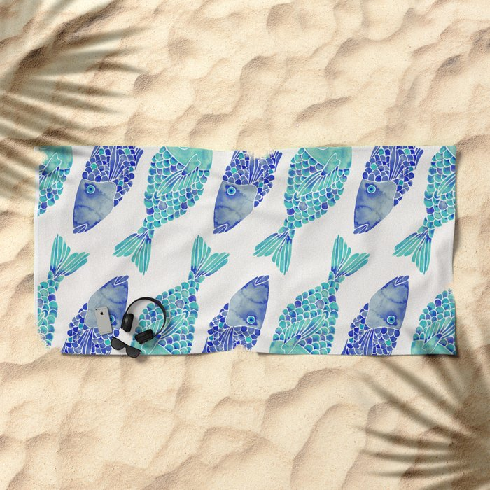 Indonesian Fish Duo – Navy & Turquoise Palette Beach Towel