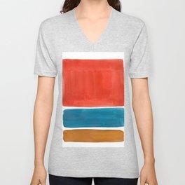 Minimalist Mid Century Modern Colorful Color Field Rothko Orange Teal Yellow Ochre Unisex V-Neck