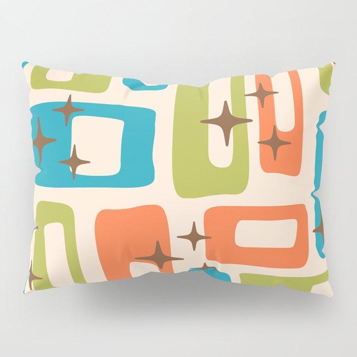 Retro Mid Century Modern Abstract Pattern 921 Orange Chartreuse Turquoise Pillow Sham