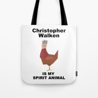 christopher walken Tote Bags featuring Christopher Walken is my Spirit Animal by Mr. Child