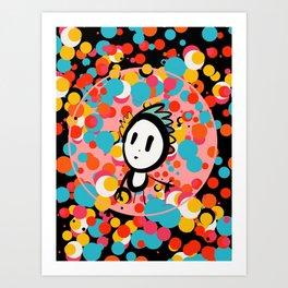 Pink Moon Kid Pop Art Graffiti Dots by Emmanuel Signorino Art Print