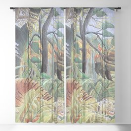 Tiger in a Tropical Storm (Surprised!) by Henri Rousseau 1891 // Jungle Rain Stormy Weather Scene Sheer Curtain