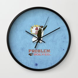 problem solved.. penguins and jetpacks Wall Clock