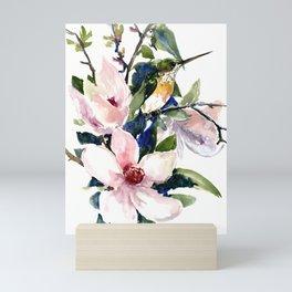 Hummingbird and Magnolia Flowers Mini Art Print
