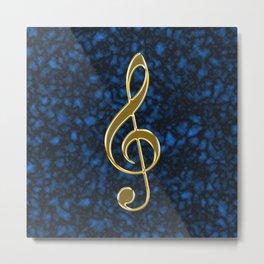 Golden treble clef Metal Print