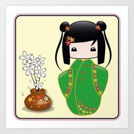 Sakura Kokeshi Doll Art Print