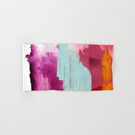 Desert Daydreams [3]: a colorful abstract mixed media piece in purple blue pinks and orange Hand & Bath Towel