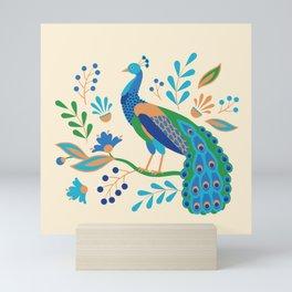 Folk Peacock Mini Art Print