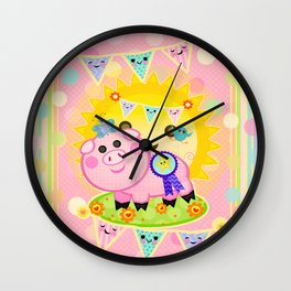 Pink Prize Pig Pennant Children's Art Wall Clock
