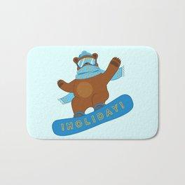 Snowboarding funny Bear Bath Mat