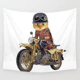 Cat riding motorcycle Wall Tapestry