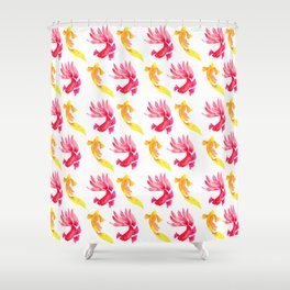 Tropical Fish Pattern (red and yellow palette) Shower Curtain