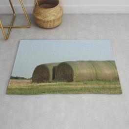 Kansas Hay Bales in a Field Rug