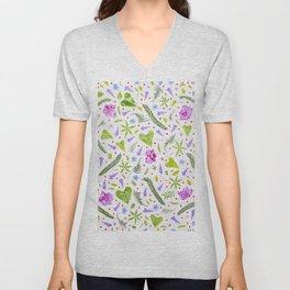 Leaves and flowers (8) Unisex V-Neck