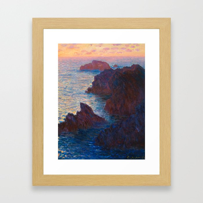 Claude Monet Impressionist Landscape Oil Painting Sunset At Sea Cliffs Ocean Cliff Landscape Framed Art Print