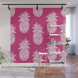 Pink yarrow inspired pineapples Wall Mural