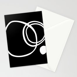 Black and White Circles Abstract Modern Stationery Cards