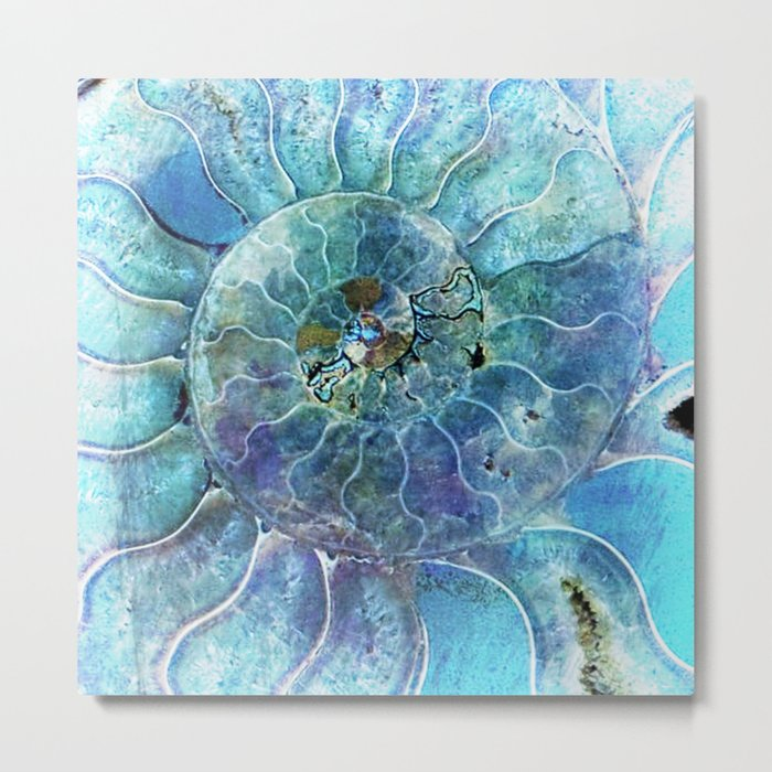 Aqua seashell -mother-of-pearl - Beautiful backdrop on #Society6 Metal Print