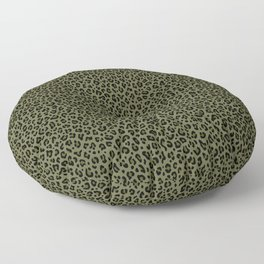 CAMO LEOPARD PRINT – Olive Green | Collection : Punk Rock Animal Prints. Floor Pillow