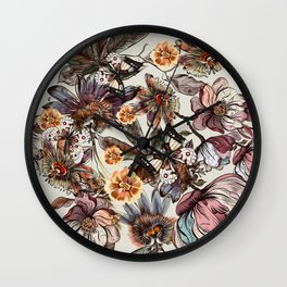 Tropical pattern with passionflower and magnolia flowers Wall Clock