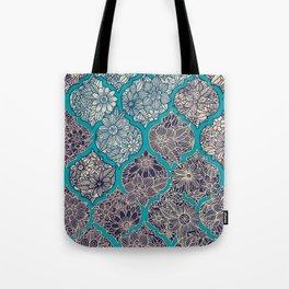 Moroccan Floral Lattice Arrangement - teal Tote Bag