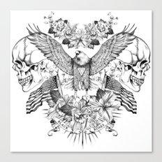American Flower Skulls Canvas Print