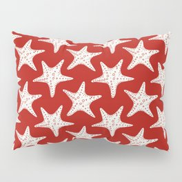 Maritime Red & White Starfish Pattern - Mix & Match with Simplicity of Life Pillow Sham