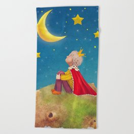 The Little Prince  on a small planet  in  night sky  Beach Towel