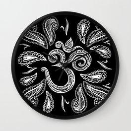 White Lace OM symbol  swirl on black Wall Clock
