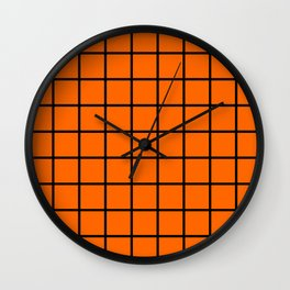 ORange and black cube Wall Clock