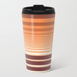 Ombre Horizontal Sienna and Orange Stripes Metal Travel Mug